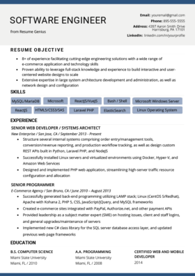 Resume Software Engineer View Example