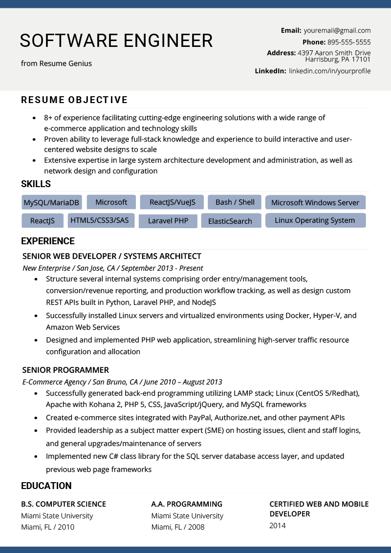 Software Engineer Resume Example Template