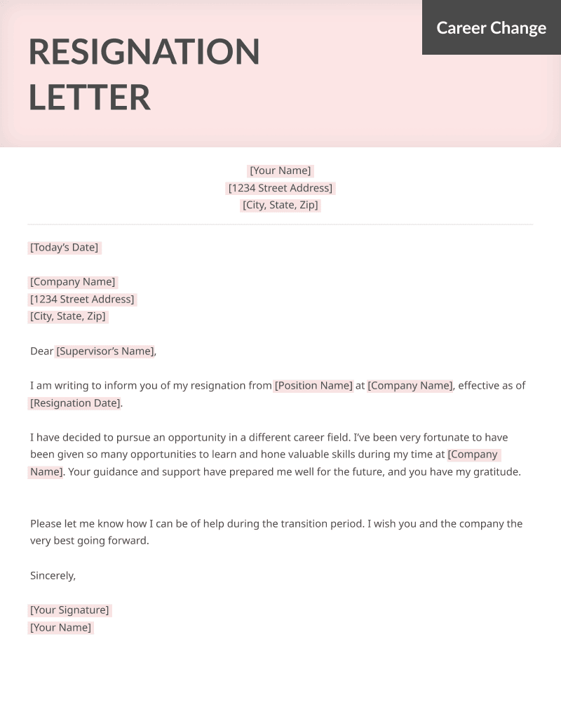 resignation letter samples career change career specific resignation letters amp more 13318