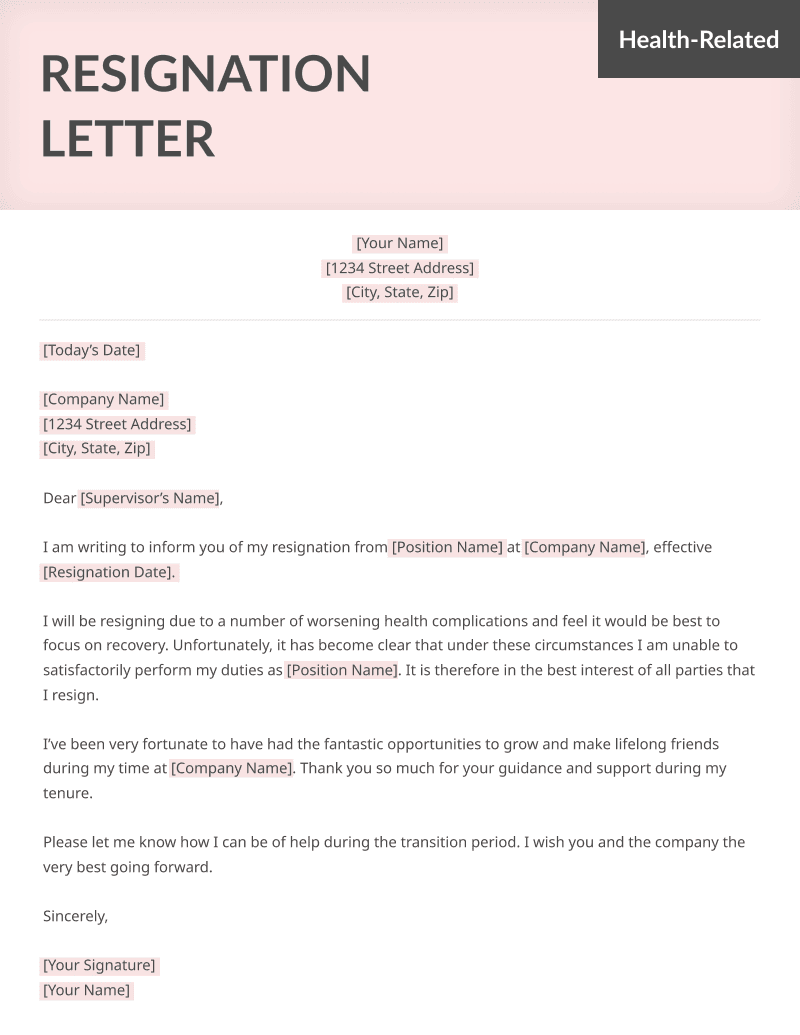 Life-Specific Resignation Letters Samples | Resume Genius