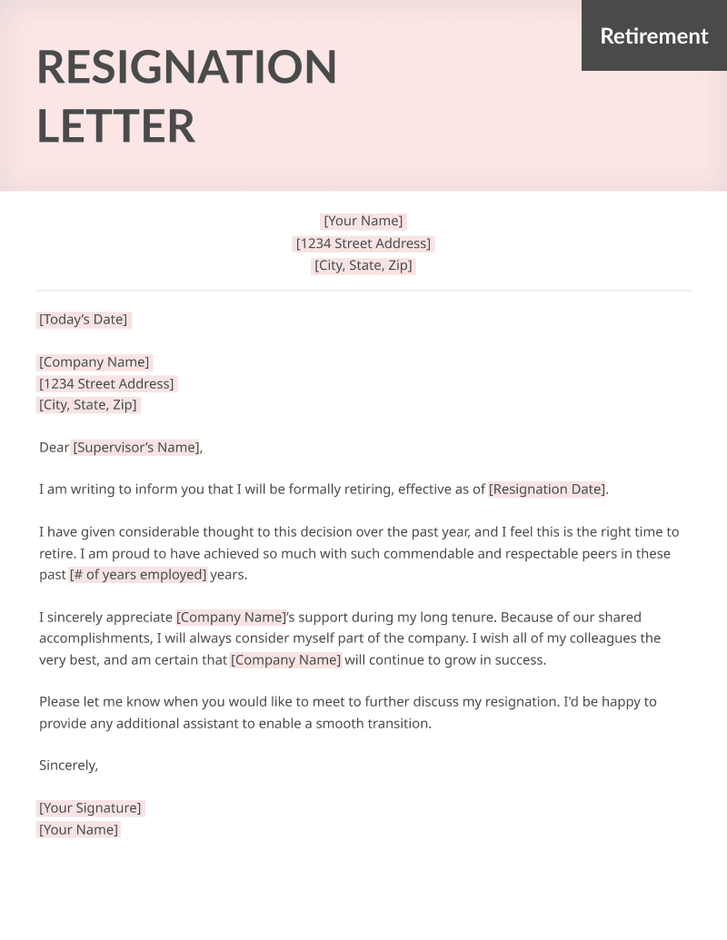 Sample Retirement Resignation Letter from resumegenius.com