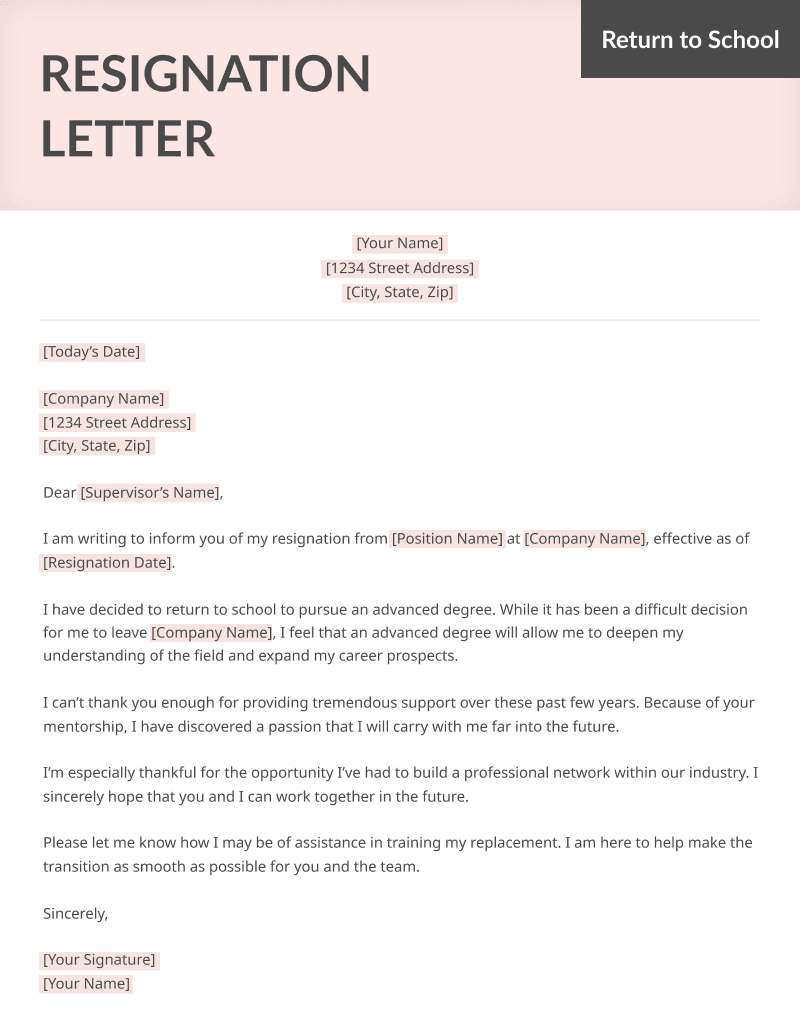 a sample return to school resignation letter