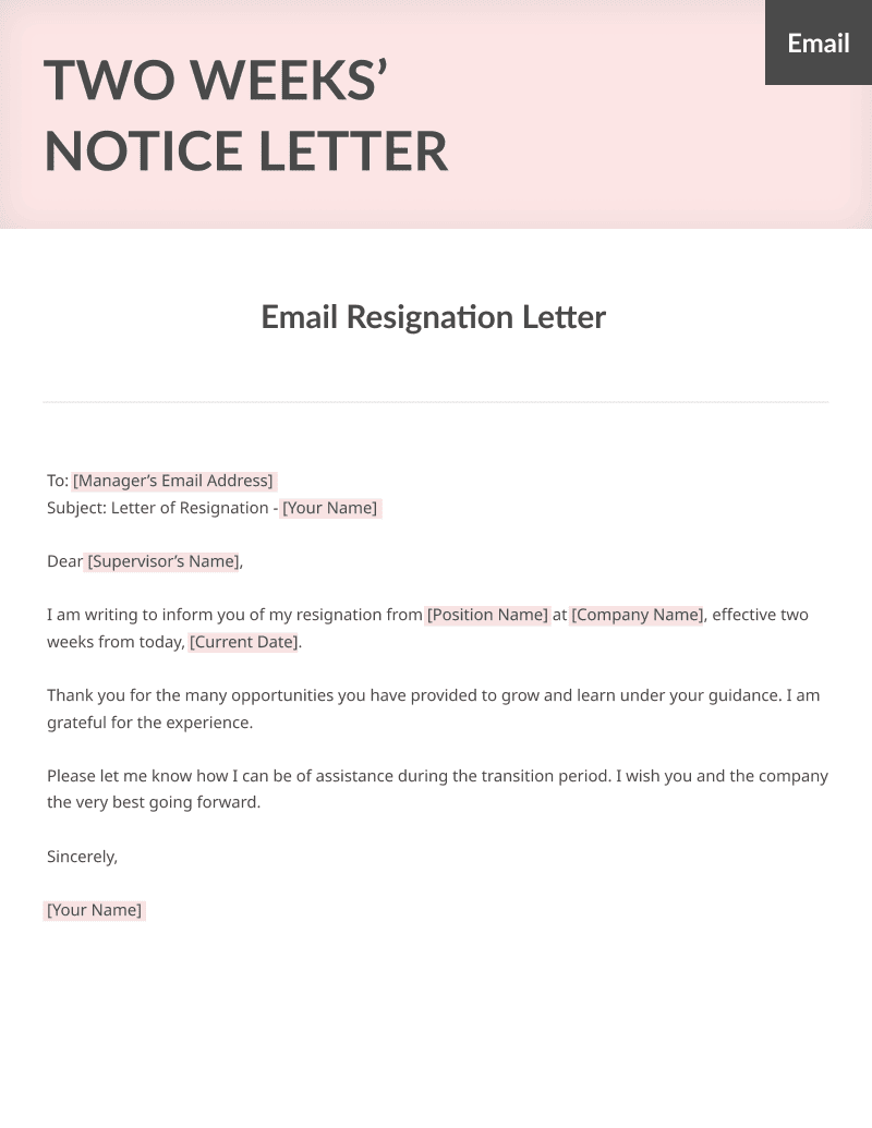 a sample email two weeks notice resignation letter