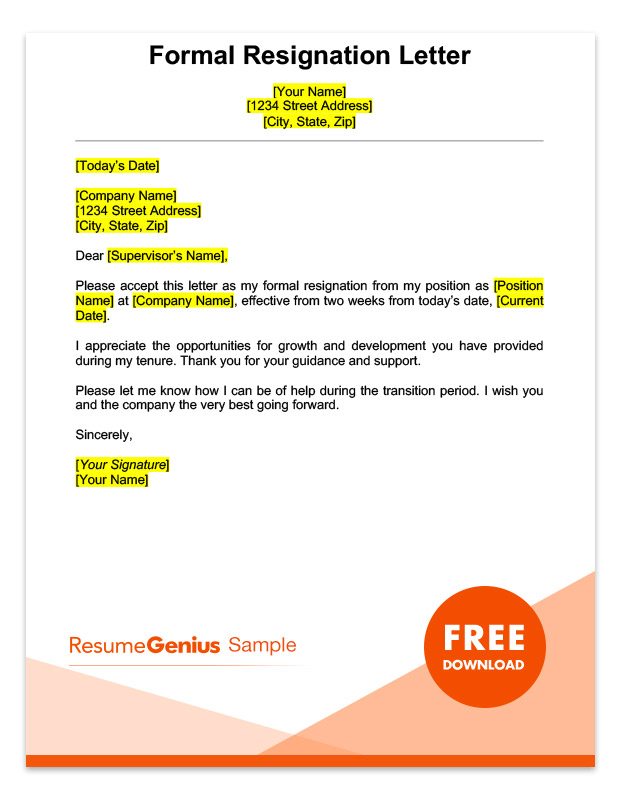 A Sample Formal Two Weeks Notice Resignation Letter