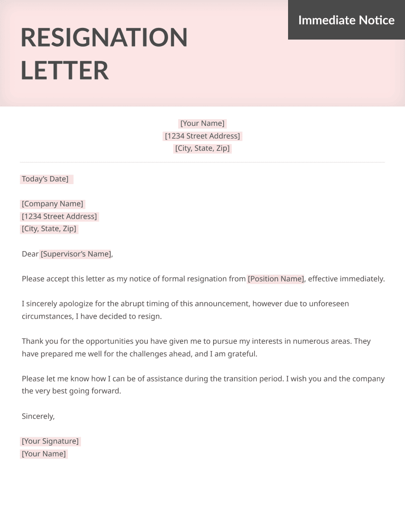 example of resignation letter due to personal reasons specific resignation letters samples resume genius 21579 | Immediate Resignation Letter Sample