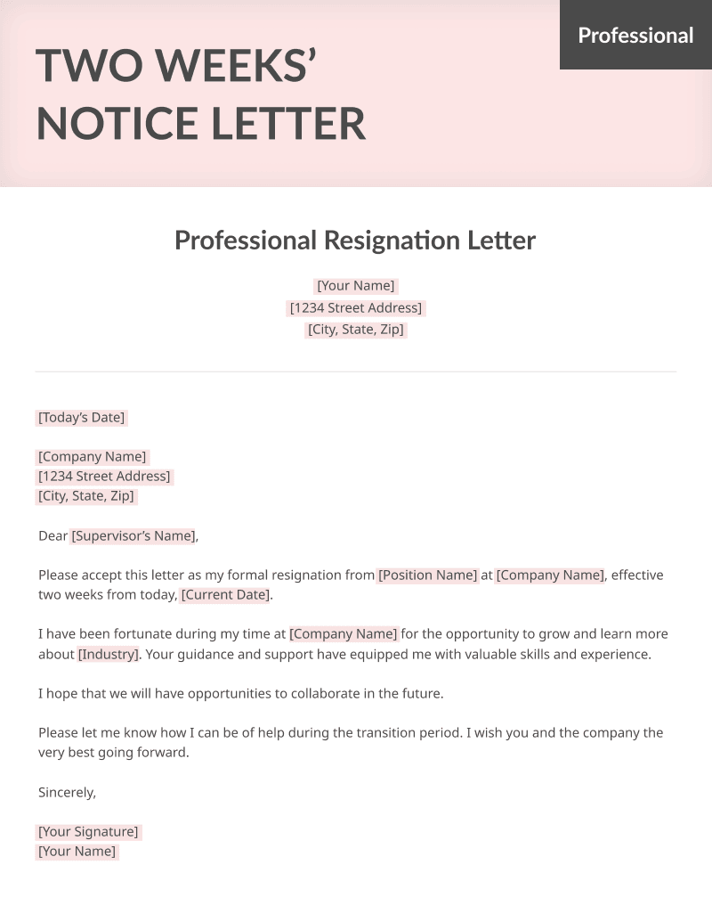 A Sample Professional Two Weeks Notice Resignation Letter