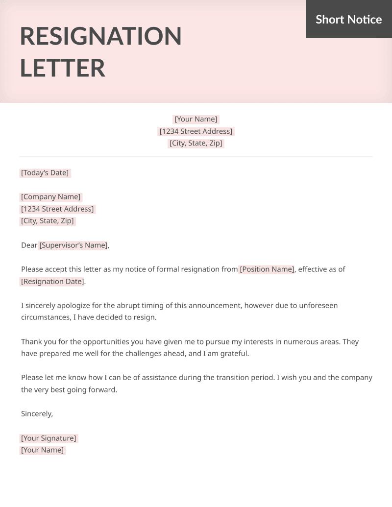 Short Notice Resignation Letter from resumegenius.com