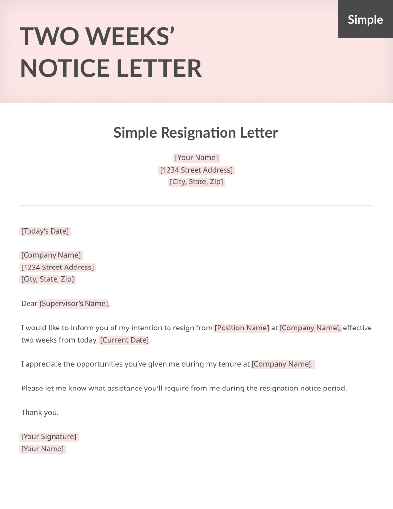 two weeks notice letter sample