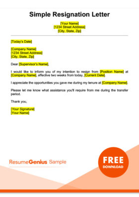 A Sample Simple Two Weeks Notice Resignation Letter