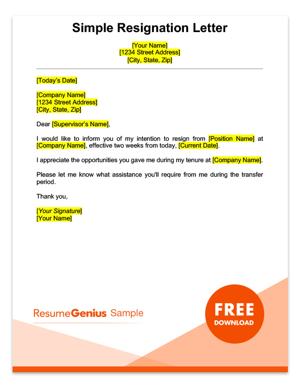 Two weeks notice letter sample free download a sample simple two weeks notice resignation letter spiritdancerdesigns Image collections