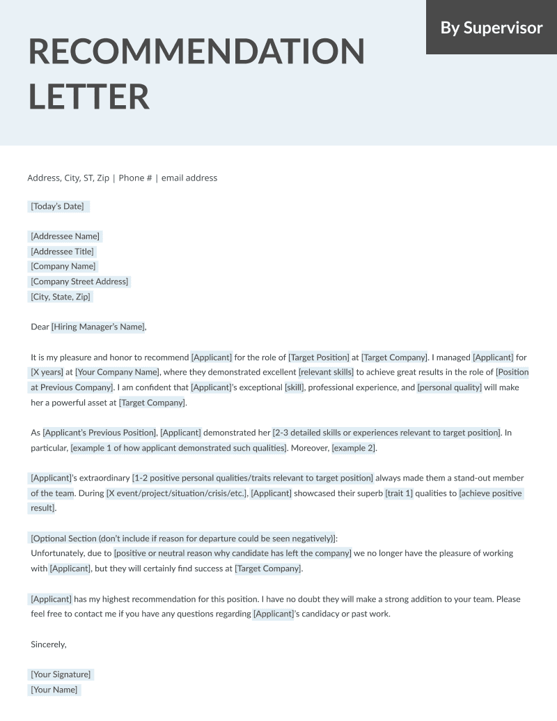 Charming Letter Of Recommendation Written By Supervisor Template