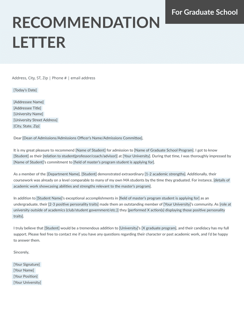 Letter Of Recommendation For Grad School Template  Letters Of Recommendation Templates