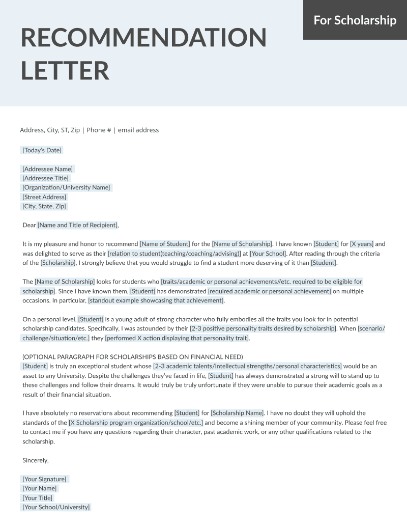 Student and teacher recommendation letter samples 4 templates rg letter of recommendation for scholarship template spiritdancerdesigns Images