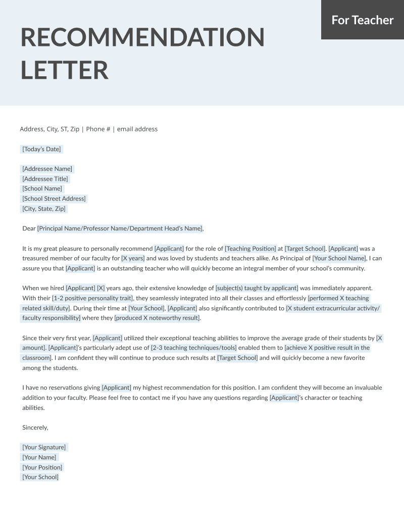 Teacher Letter Of Recommendation Template from resumegenius.com