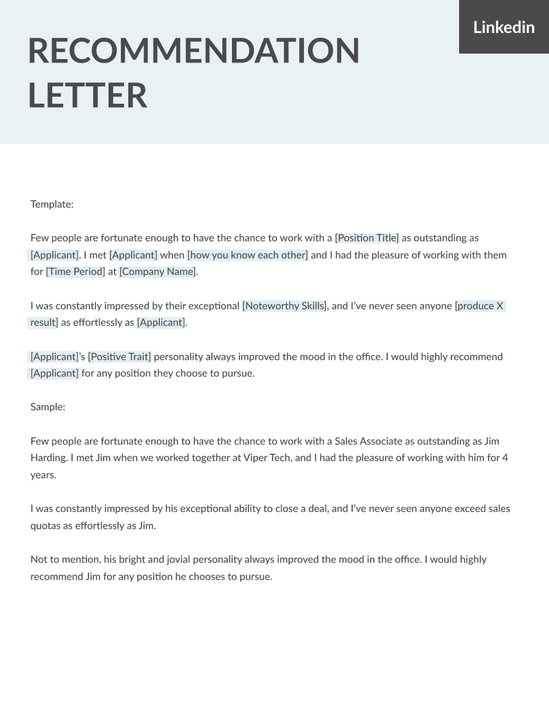 Letter of recommendation samples templates for employment rg sample linkedin recommendation and template spiritdancerdesigns Gallery