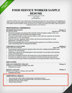 Food Service Resume Skills Section Example