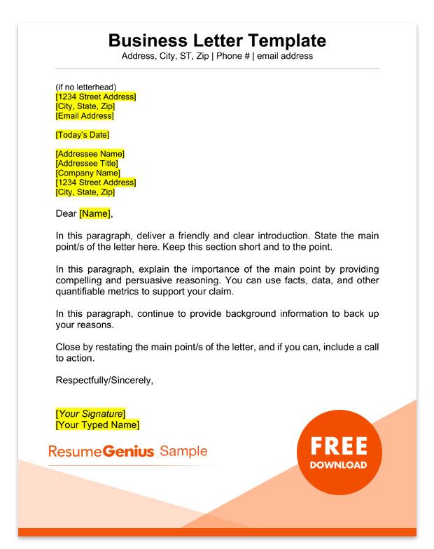 sample business letter template example