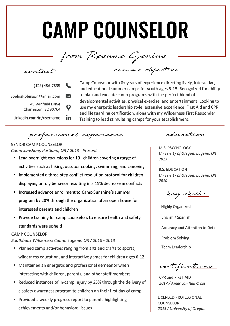camp counselor resume sample  u0026 tips