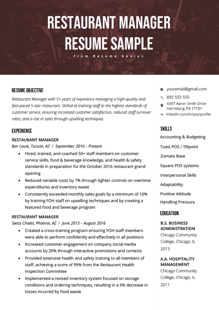 Restaurant Manager Resume Example Template