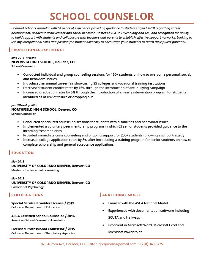 School Counselor Resume Sample   Tips   Resume Genius