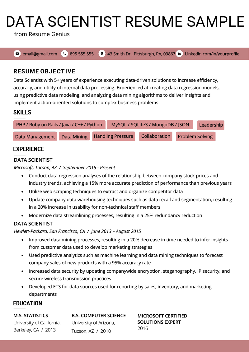 data scientist resume summary