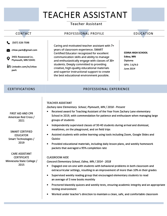 Teacher Assistant Resume Example Template