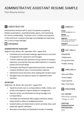 Secretary Resume Sample & Writing Tips | Free Download | RG