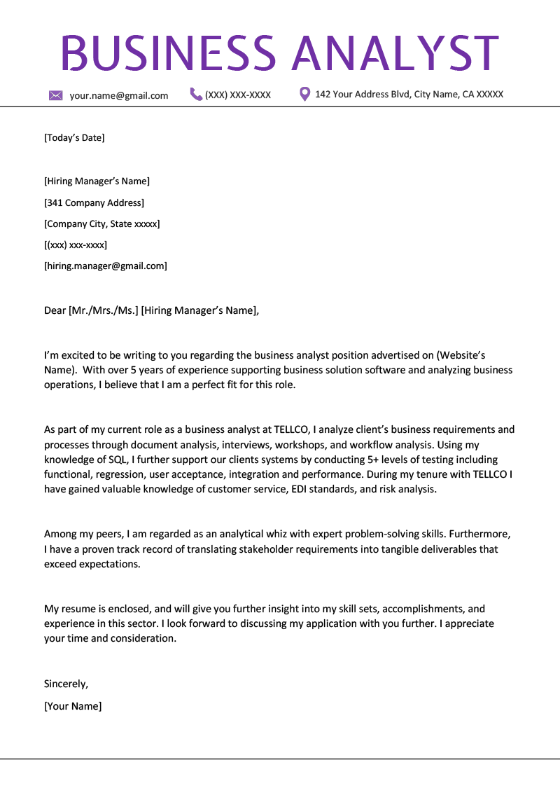 business analyst cover letter example template