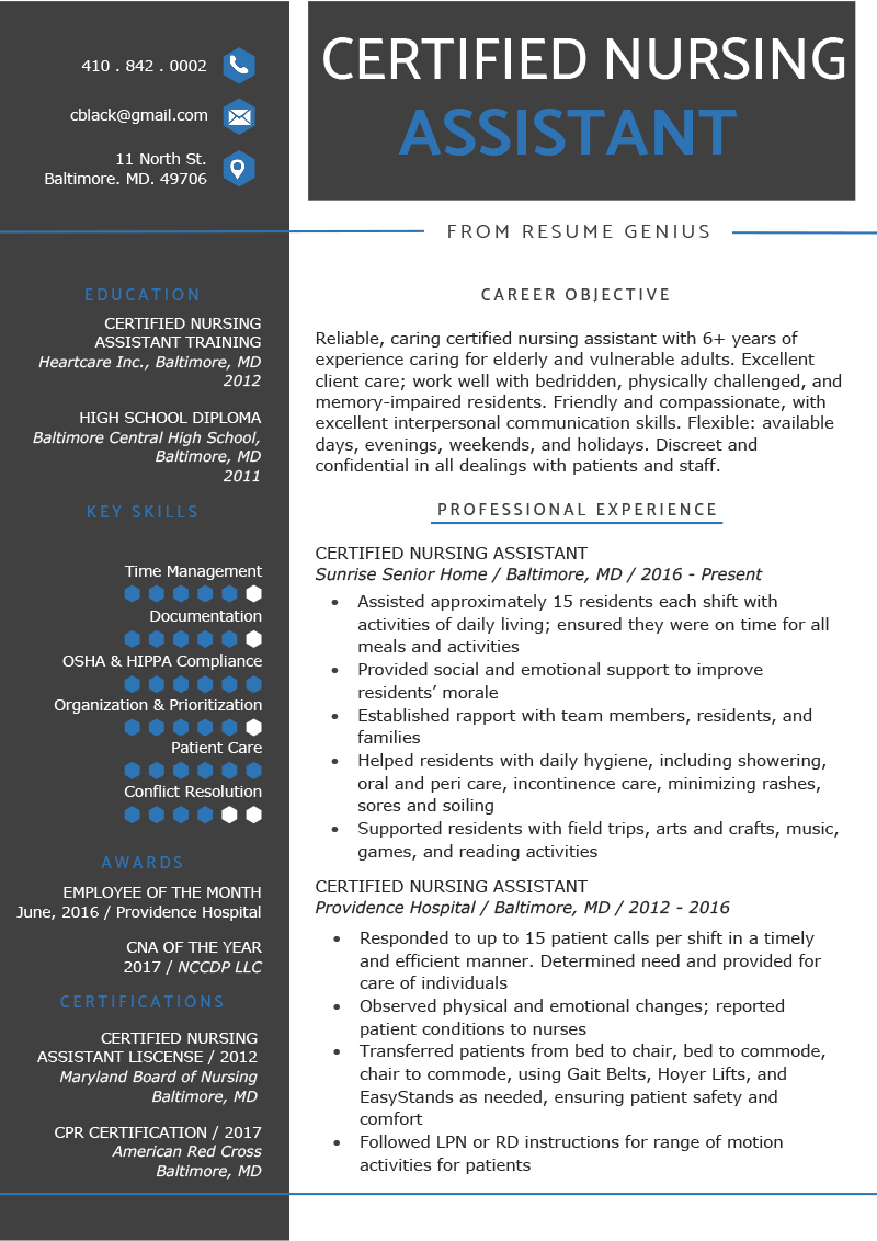 Certified Nursing Assistant Resume Example Template