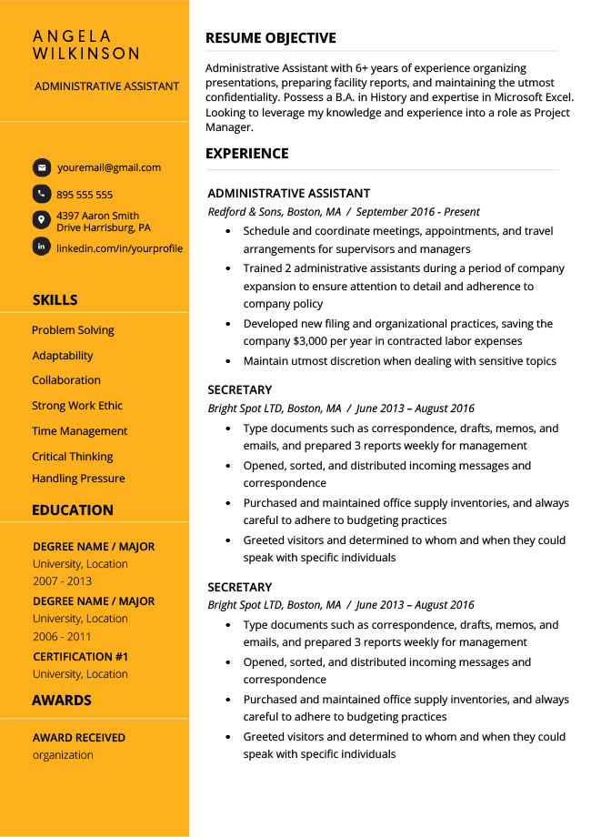 Clean Gold Resume Template