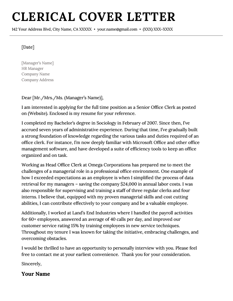 clerical cover letter example  u0026 tips