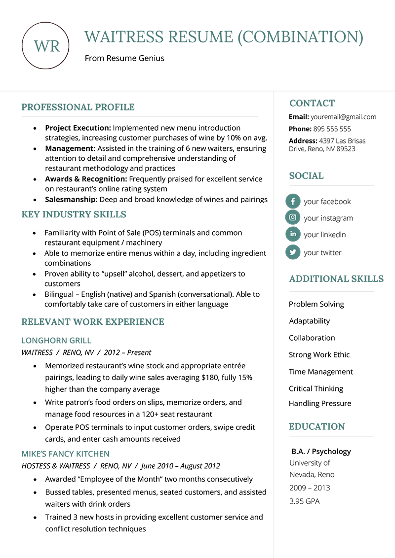 The Combination Resume Examples Templates Writing Guide