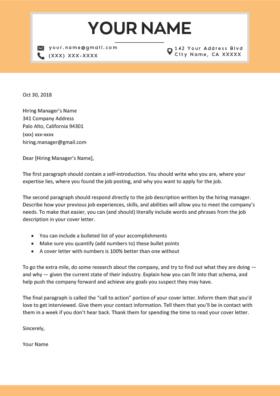 cosmopolitan orange cover letter template design