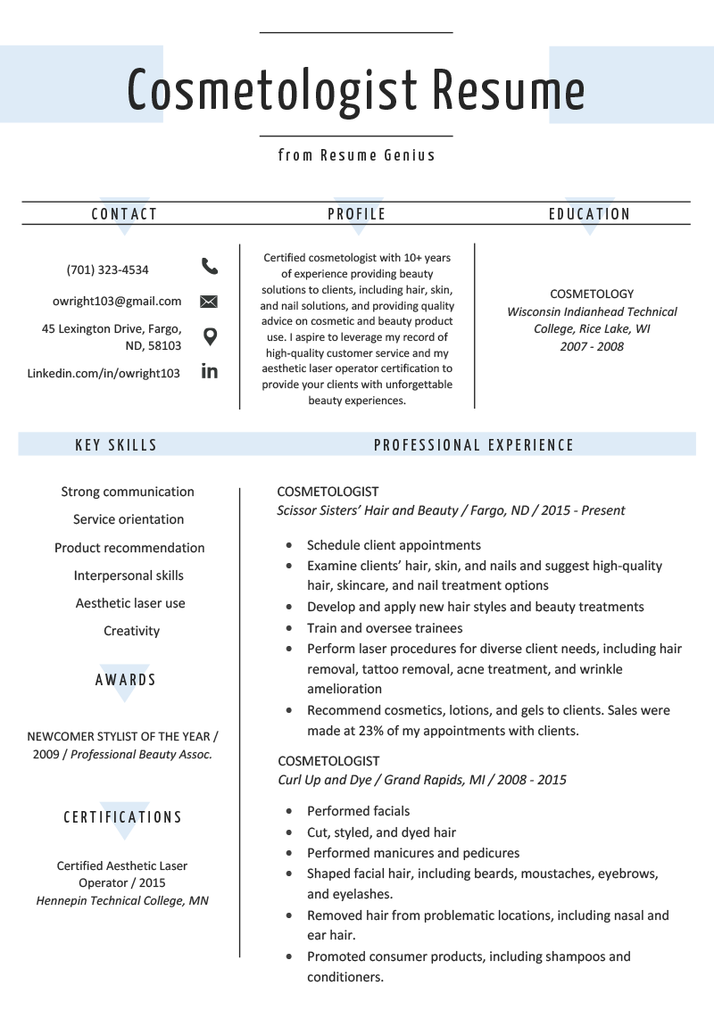 cosmetologist resume sample  u0026 writing guide