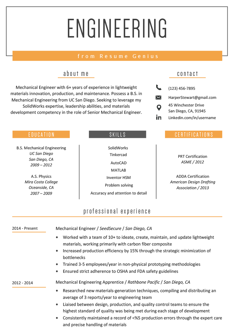 Engineering Resume Example Template