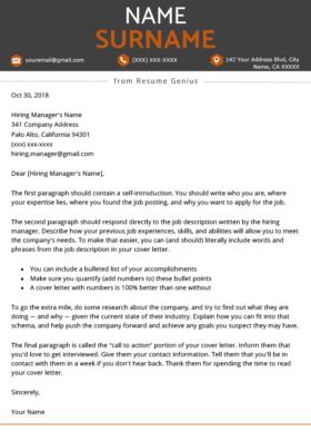 everest orange cover letter template design