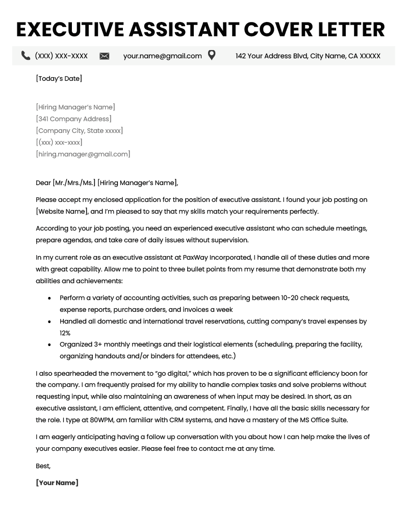 Executive Assistant Cover Letter Example Amp Tips Resume