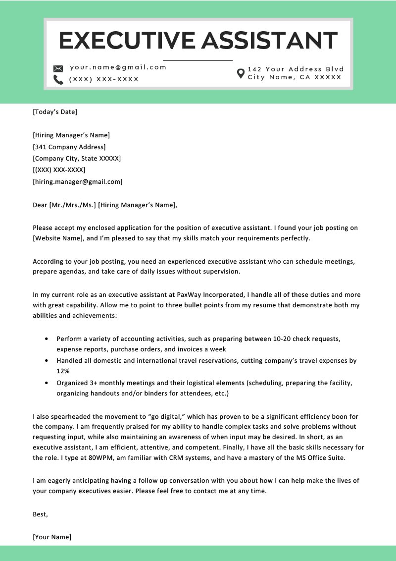 executive assistant cover letter example  u0026 tips