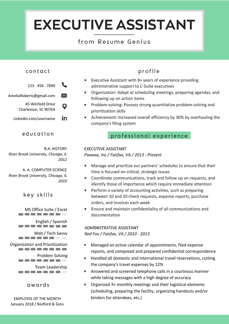 Executive-istant-Resume-Example-Template Sample Administrative Istant Resume Format on medical office, clerical office, assistant highlight,