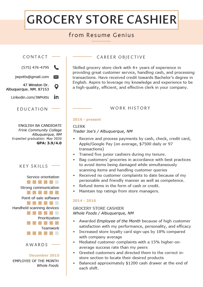 grocery store cashier resume example  u0026 tips