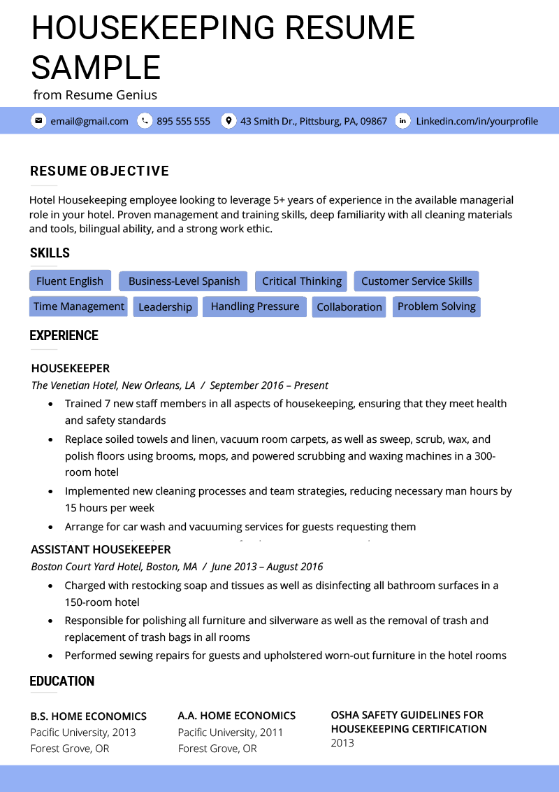 Housekeeping Resume Example Amp Writing Tips Resume Genius