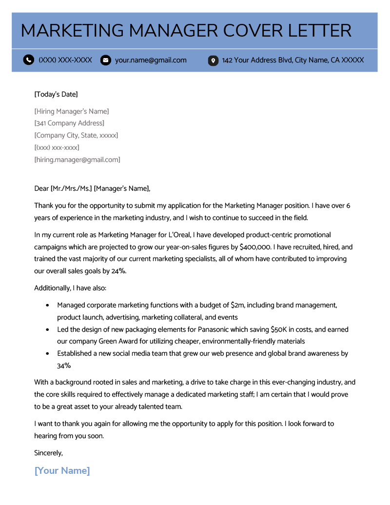 Marketing Manager Cover Letter Sample | Resume Genius