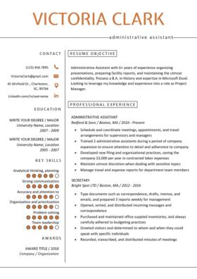 Orange Minimalist Resume Template