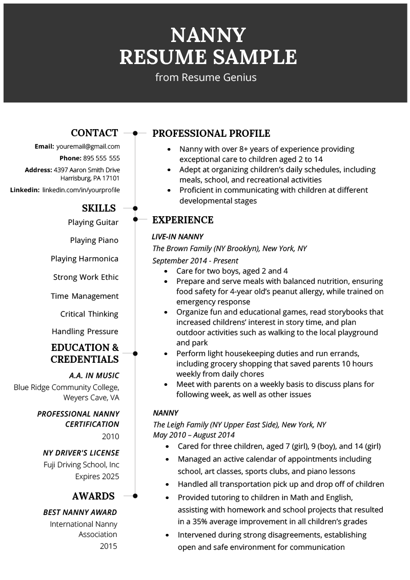 Example Of Professional Resume | Nanny Resume Example Writing Tips Resume Genius