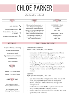 Rose Colored Notre Dame Resume Template
