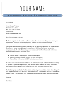 Windsor Blue Cover Letter Template Design