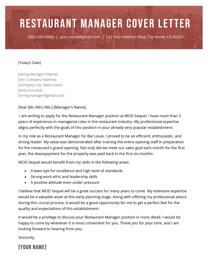 Restaurant Manager Cover Letter Example Template
