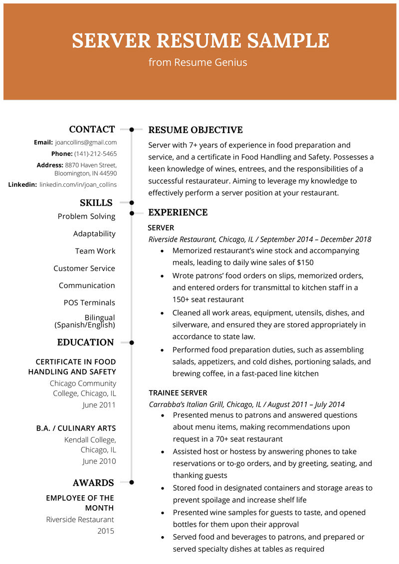 Resume Template For Restaurant Server Vvengelbert Nl