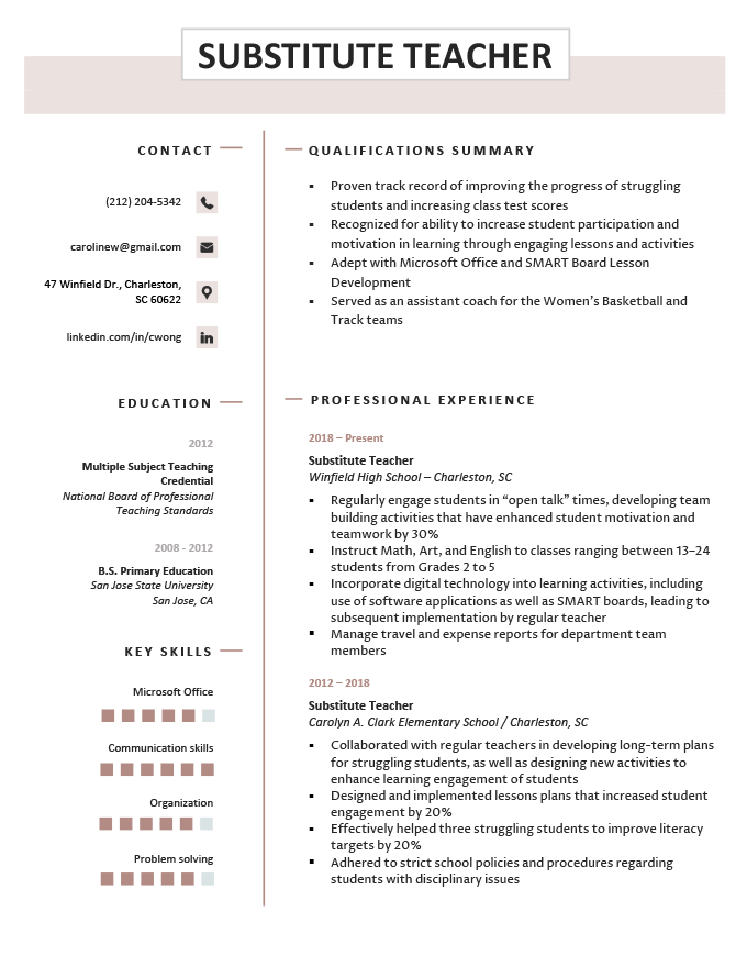 substitute teacher resume samples writing guide resume. Black Bedroom Furniture Sets. Home Design Ideas