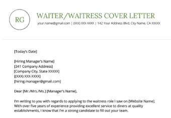 Waiter Waitress Cover Letter Example Template
